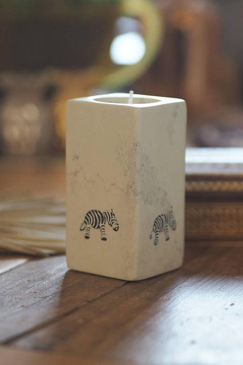 Zebra Soapstone Tea Light Holder