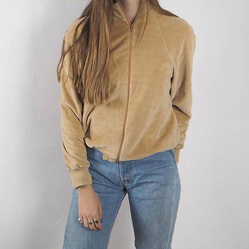 Vintage Camel Velour Zip Jacket - S