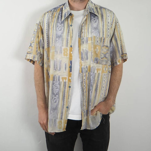 Vintage Mustard and Blue 90's Shirt -XL