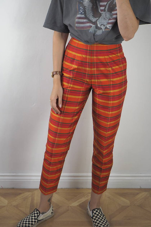 Vintage Checked Silk Trousers - 6-8UK