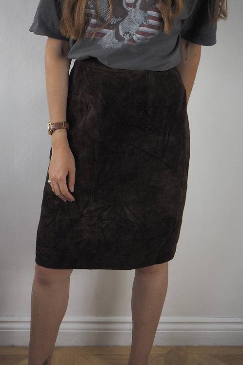 Vintage Brown Suede Midi Skirt - 10UK