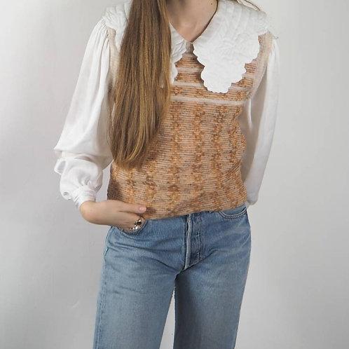 Vintage Peach Stripe Knit Vest - S