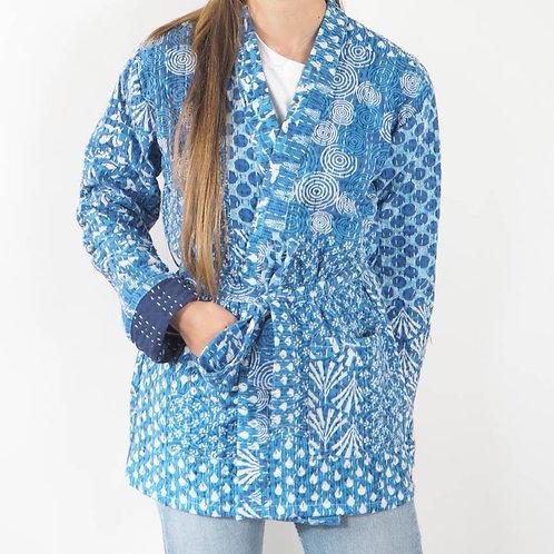 Light Blue Indian Kantha Jacket - S