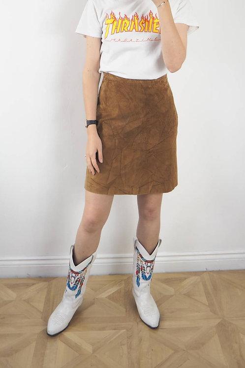 Vintage Tan Suede Skirt - 8UK