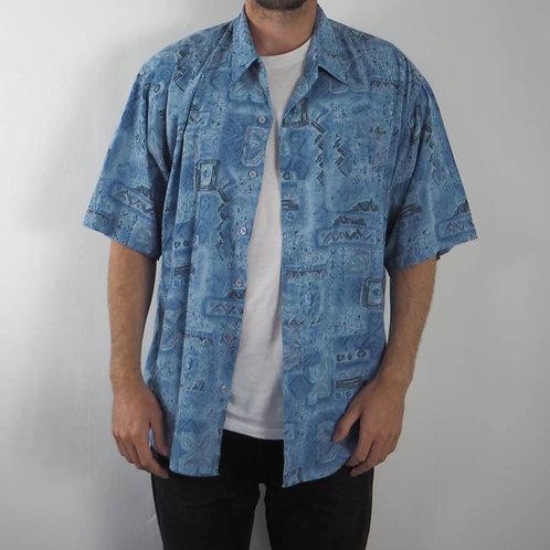 Vintage Blue Aztec Abstract Shirt - L