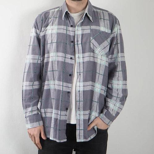 Vintage Light Grey Checked Shirt - S