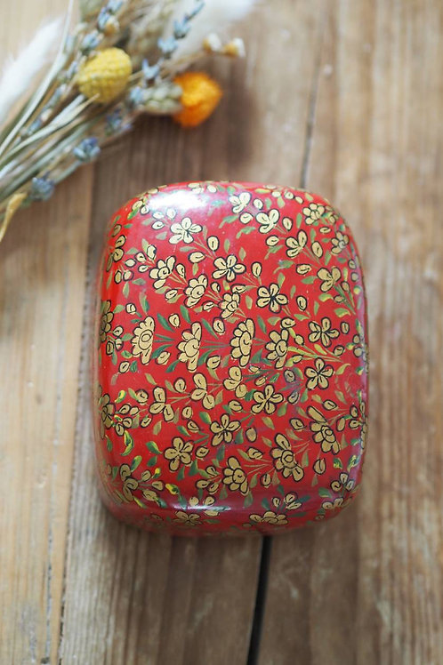 Indian Paper Mache Red Floral Box