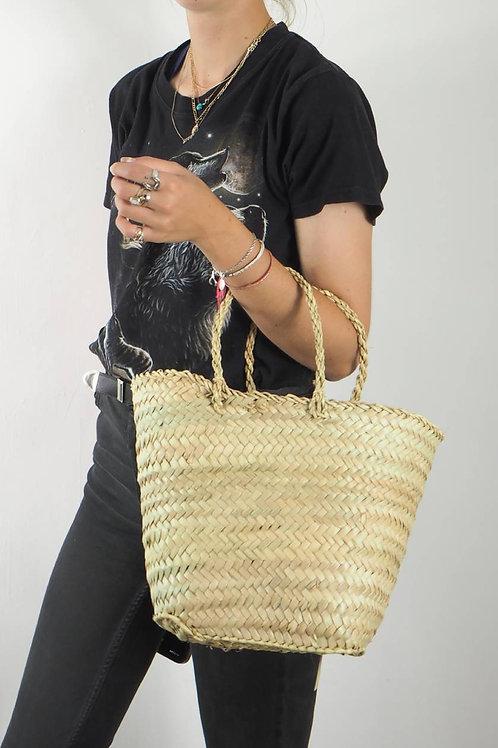 Moroccan Palm Handle Basket Bag