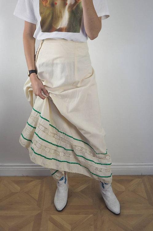 Vintage Cream 70's Maxi Skirt - 8UK