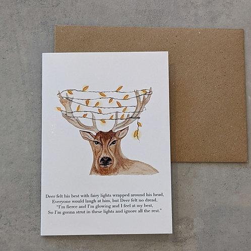 Deer in Fairy Lights card