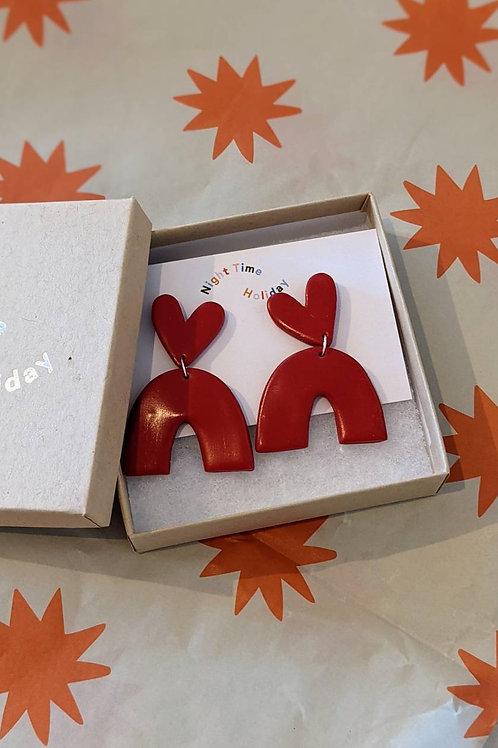 Poppy Jumbo Dodger Hearts Earrings
