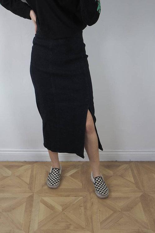 Vintage Dark Denim Midi Skirt - 10UK