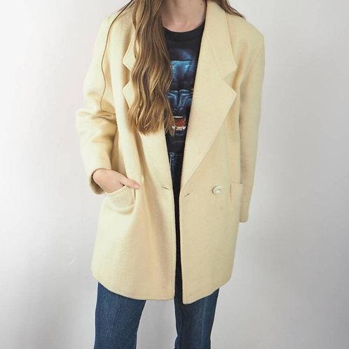 Vintage Cream Wool Coat - 12UK