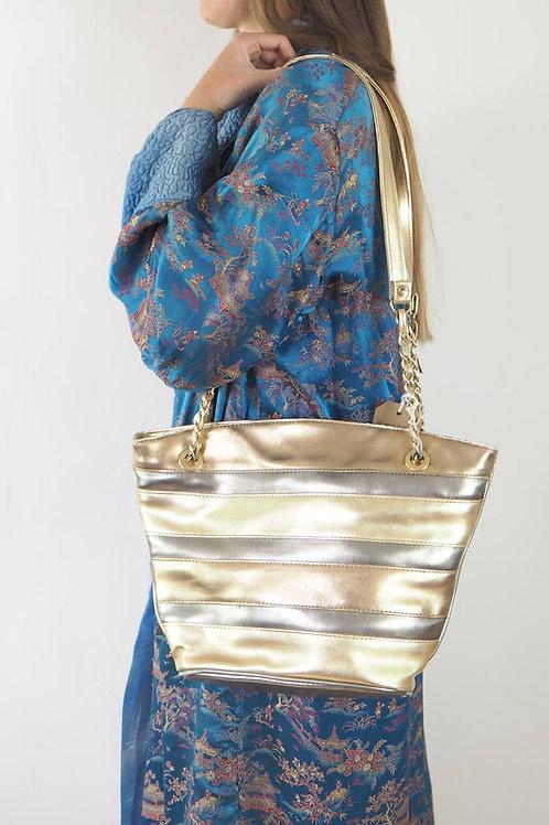 Vintage Metallic Stripe Handbag