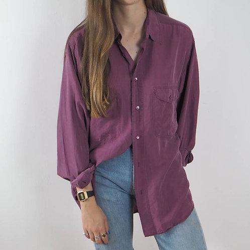 Vintage Purple Silk Oversized Shirt - XL