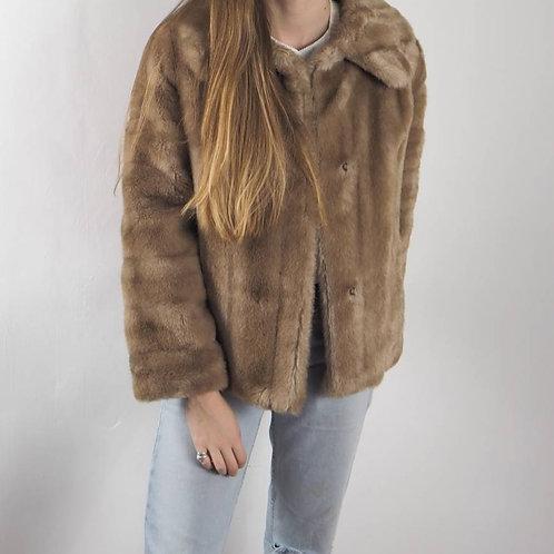 Vintage Caramel Faux Fur Coat - M