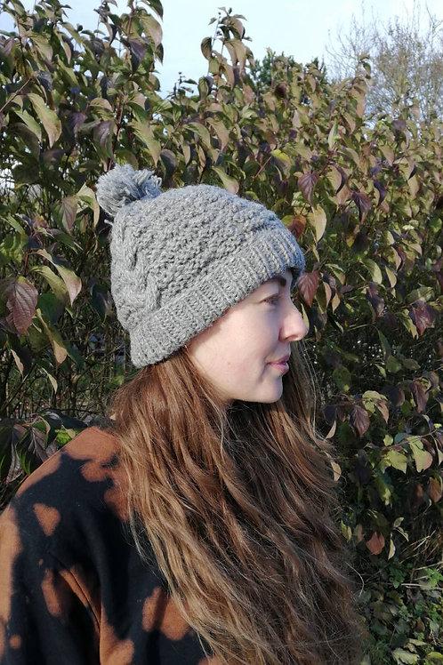 Fair trade Grey Wool Bobble Beanie Hat