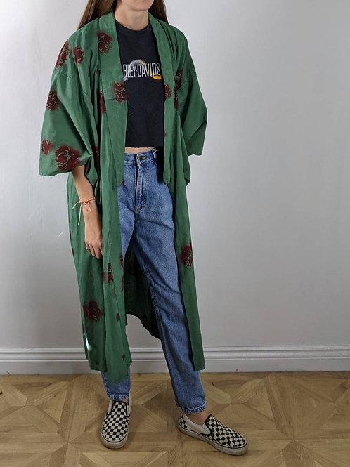 Vintage Rose Green Cotton Kimono