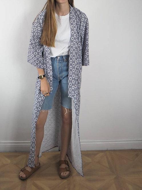 Vintage Geo Cotton Kimono - L