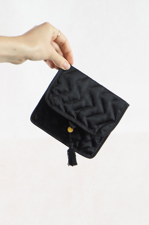 Vintage Black Quilted Purse Pouch