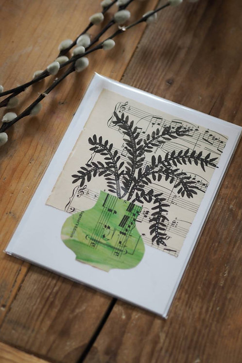 Handmade Collage Green Vase Card