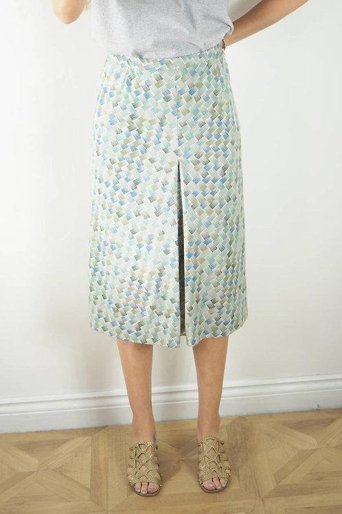 Vintage Green Line Print Midi Skirt - 14UK