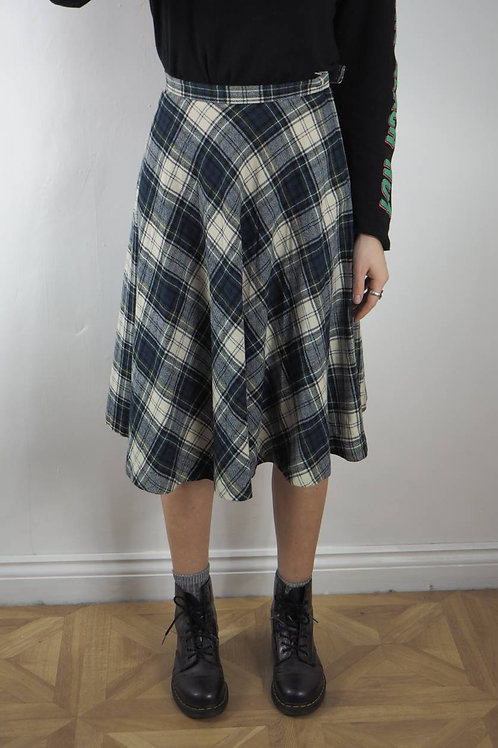 Vintage Green Tartan Skirt - 8UK