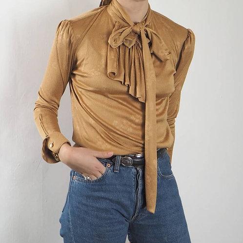 Vintage Gold Draped Collar Blouse - 8UK