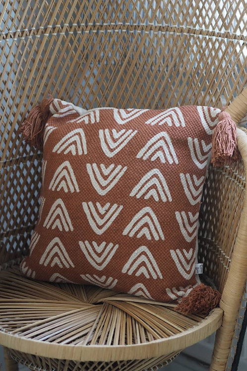 Terracotta Block Print Cushion