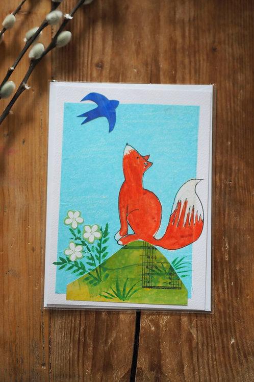 Handmade Collage Fox Card