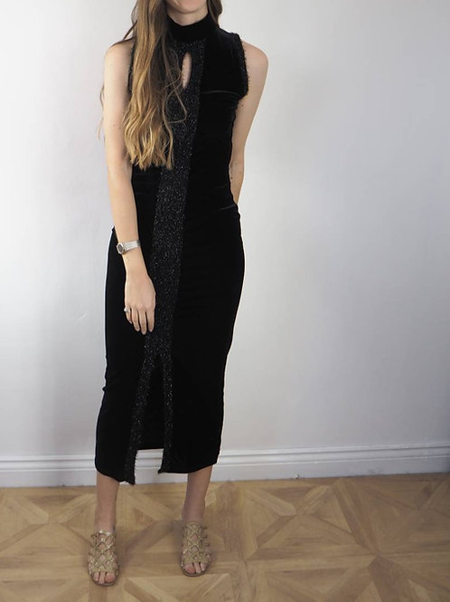 Vintage Black Velvet Dress - 8UK