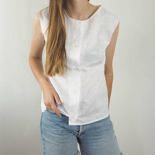 Vintage White Button Vest  Top - 10UK