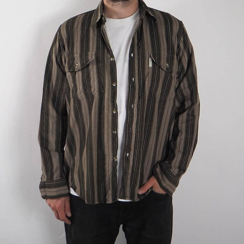 Vintage Brown Striped Corduroy Shirt - M