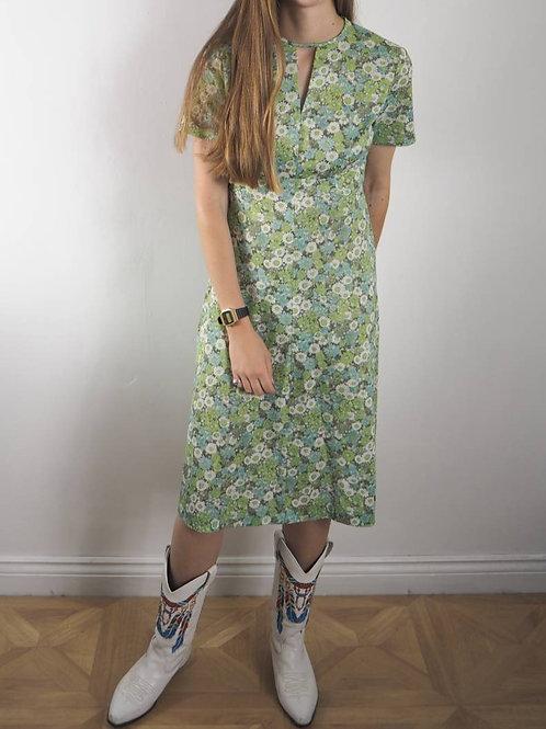 Vintage Light Green Floral Crimp Dress - 12UK