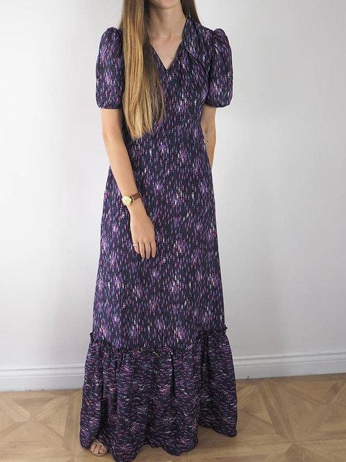 Vintage Purple Tiered Fish Maxi Dress - 8-10UK