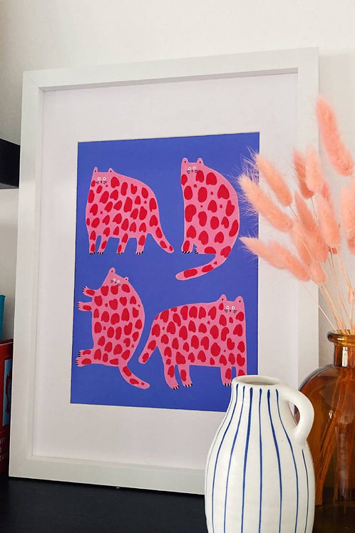 Pink & Red Cats A4 Print