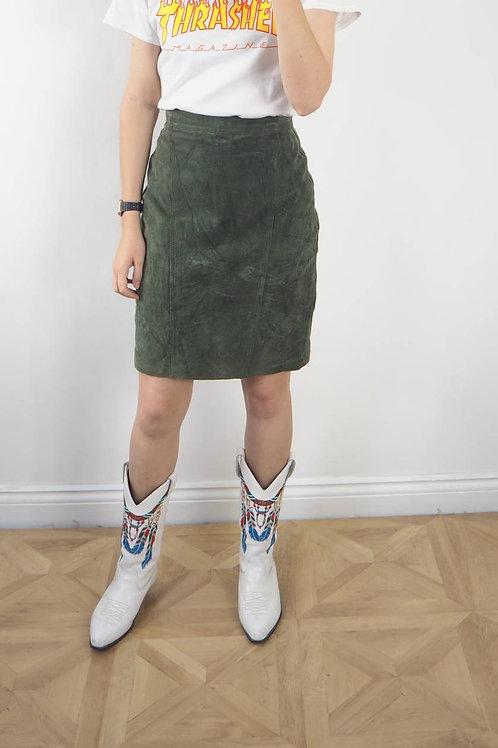 Vintage Green Suede Skirt - 8UK