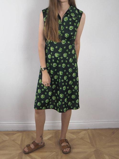 Vintage Green Floral Crimp Dress - 12-14UK