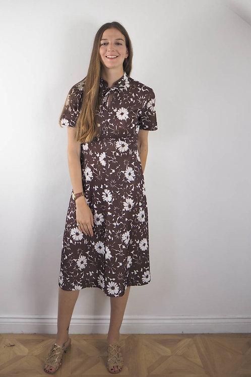Vintage Brown Floral Crimp Dress - 12-14UK