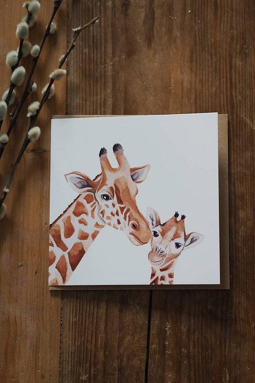 Giraffe And Baby Card
