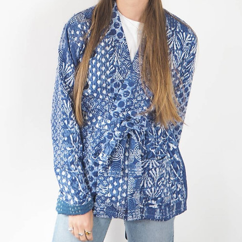Blue Indian Kantha Jacket - L