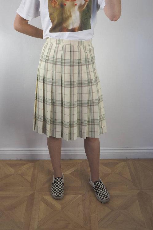 Vintage Checked Cream Pleat Skirt - 16UK