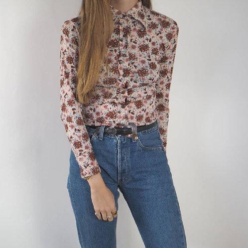 Vintage 70's Floral Shirt - 6UK