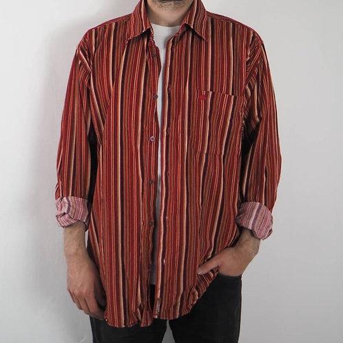 Vintage Red Striped Corduroy Shirt - XL