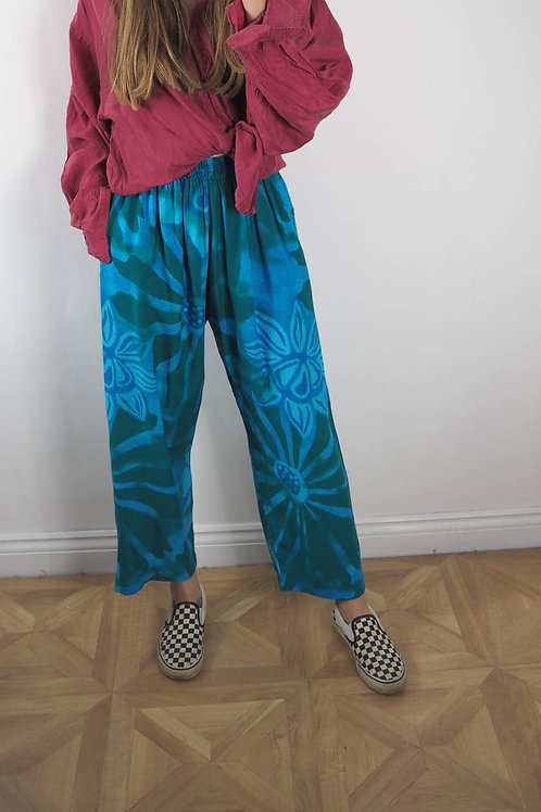 Fair Trade Blue Floral Trousers - 8-14UK