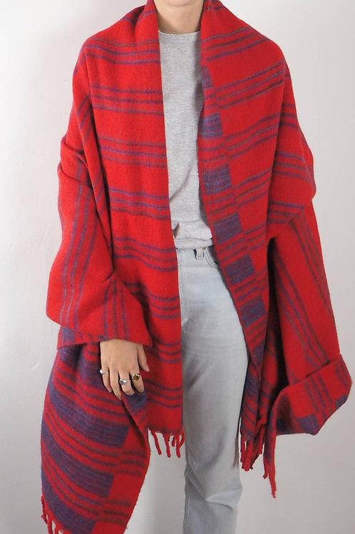 Red Striped Shawl Blanket