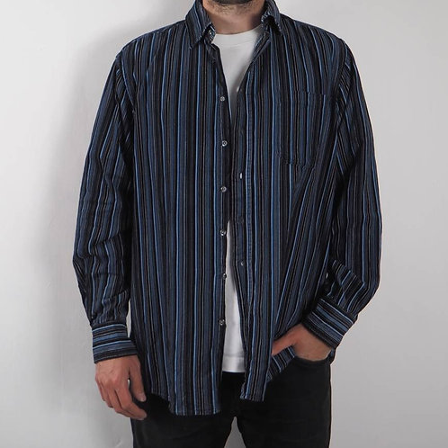 Vintage Blue Striped Corduroy Shirt - L