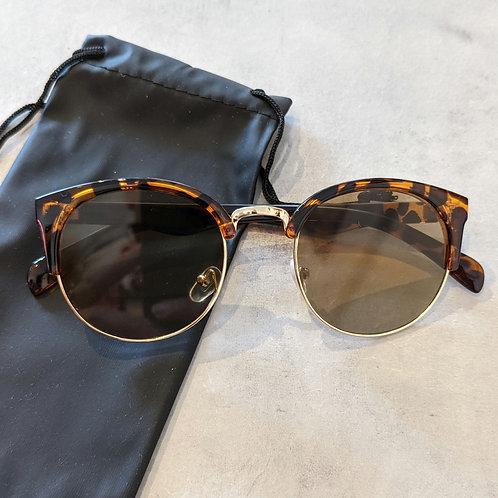 Tortoiseshell and Gold Round Sunglasses