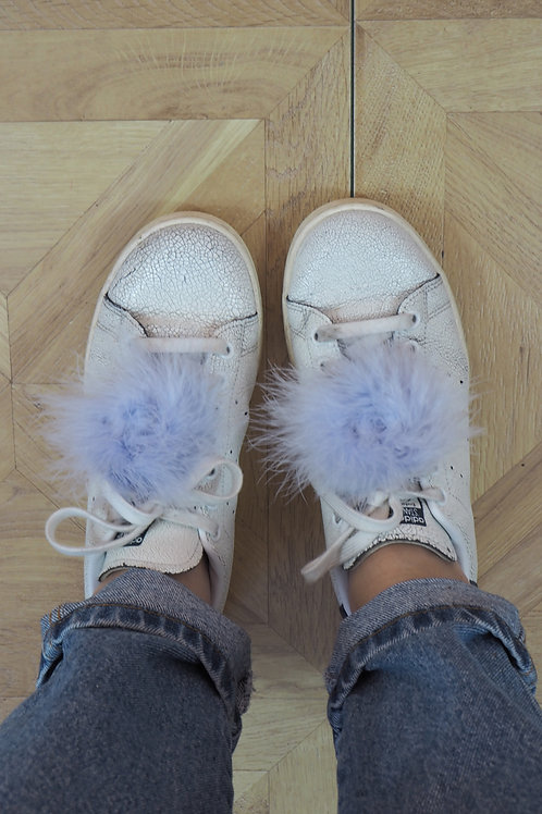 Feather Fluffy Lilac Shoe Clips