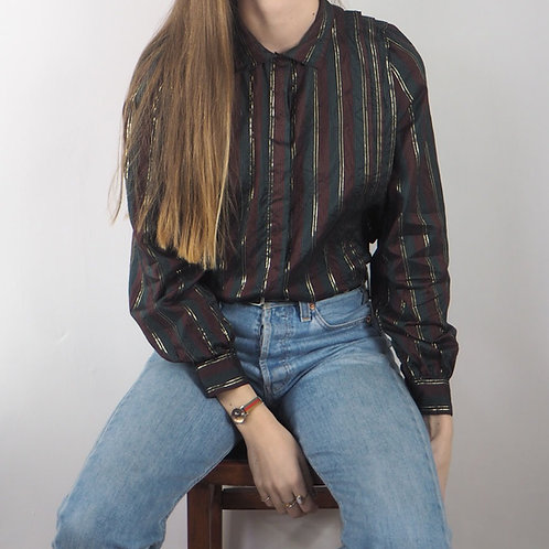 Vintage Multi and Gold Stripe Shirt - 12UK